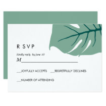 Monstera | Green |  Wedding Response RSVP Invitation