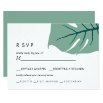 Monstera | Green |  Wedding RSVP meal choice Invitation