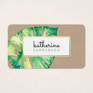 MONSTERA LEAF eco painted modern watercolor kraft Business Card