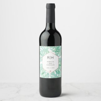 Monstera Leaf & Rose Gold Monogram Wine Label