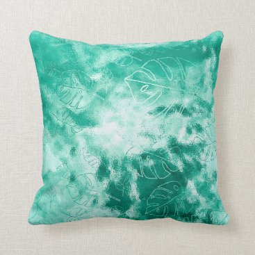 Beach Themed Monstera Leaf Tropical Metallic Glass Mint Aqua Throw Pillow