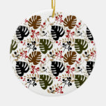 Monstera Leaves and Twigs Double-Sided Ceramic Round Christmas Ornament