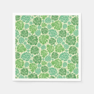 Monstera Leaves Light Background Napkins