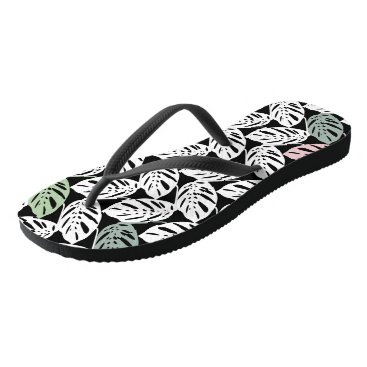 Beach Themed Monstera Obliqua Tropical Plant Leaves Flip Flops