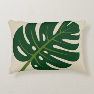 Monstera palm leaf accent throw pillow home decor