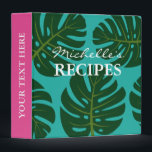 """Monstera palm tree leaf kitchen recipe binder book<br><div class=""""desc"""">Personalized Monstera palm tree leaf kitchen recipe binder book. Custom cookbook with floral print and personalizable color plus name. Cute personalized baking / cooking gift idea for women; ie mom, mother, aunt, wife, sister, grandma, chef cook etc. Elegant typography for custom name. Cute gift idea for dinner party. Also nice...</div>"""