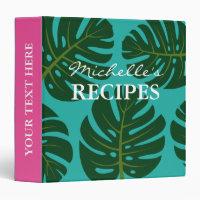 Monstera palm tree leaf kitchen recipe binder book