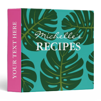 Monstera palm tree leaf kitchen recipe binder book