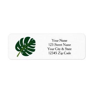Monstera palm tree leaf return address labels