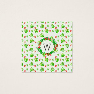 Monstera Palm Tropical Elegant Repeat Pattern Square Business Card