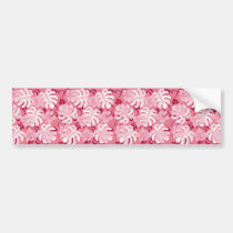 monstera, hawaii, tropical, plant, nature, pink, hibiscus, graphic, beach, sea, illustration, surfer, surfing, surf, summer, Bumper Sticker with custom graphic design
