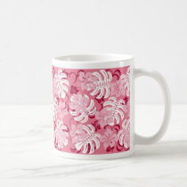 monstera, hawaii, tropical, plant, nature, pink, hibiscus, graphic, beach, sea, illustration, surfer, surfing, surf, summer, Caneca com design gráfico personalizado