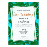 Monstera Plant Leaves Greenery Wedding Invitations