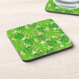 Monstera & Tiare w/palm weave Beverage Coaster