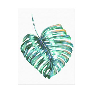 monstera tropical leaf palm modern watercolor canvas print