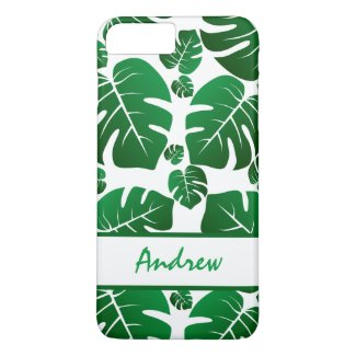 Monstera Tropical Palm Leaf Personalized iPhone 8 Plus/7 Plus Case