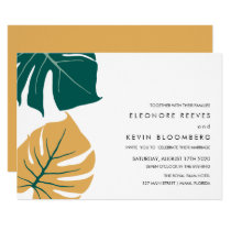 Monstera | Yellow | Philodendron leaves Wedding Invitation