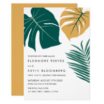 Monstera | Yellow | Tropical Leaves Wedding Invitation