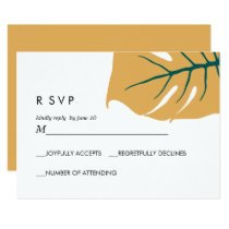 Monstera | Yellow |  Wedding Response RSVP Invitation