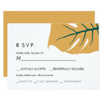 Monstera | Yellow |  Wedding RSVP meal choice Invitation