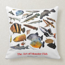 Monsterfishes Throw Pillow