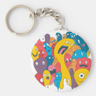 Monsters and ghosts make an awesome pattern basic round button keychain