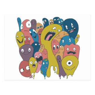 Monsters and ghosts make an awesome pattern postcard