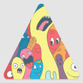 Monsters and ghosts make an awesome pattern triangle sticker
