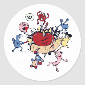 monsters attack of the heart anti love vector classic round sticker