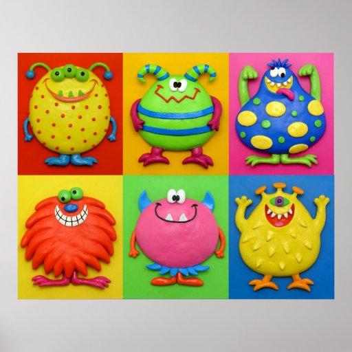 Monsters Baby Boy Shower Nursery Poster