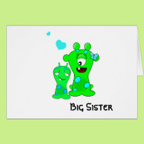 Monsters, Big Sister, Little Brother Cartoon Card