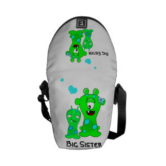 Monsters, Big Sister, Little Brother Cartoon Courier Bag