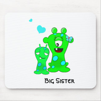 Monsters, Big Sister, Little Brother Cartoon Mouse Pad