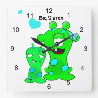 Monsters, Big Sister, Little Brother Cartoon Square Wall Clock
