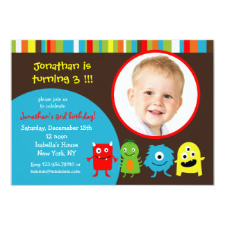 Monsters Birthday Party Invitaitons with Photo Card