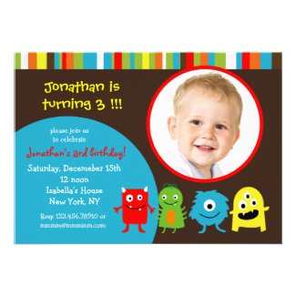 Monsters Birthday Party Invitaitons with Photo Custom Announcement