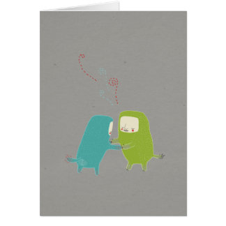 Monsters Dance, blue and green monsters dancing Card