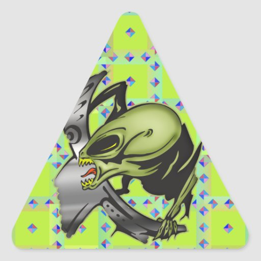 Monsters From Outer Space Triangle Stickers