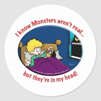 Monsters in my head classic round sticker