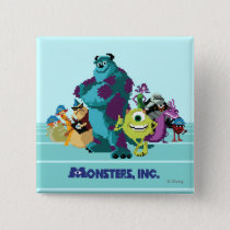 Monsters Inc 8Bit Mike, Sully, and the Gang Pinback Button