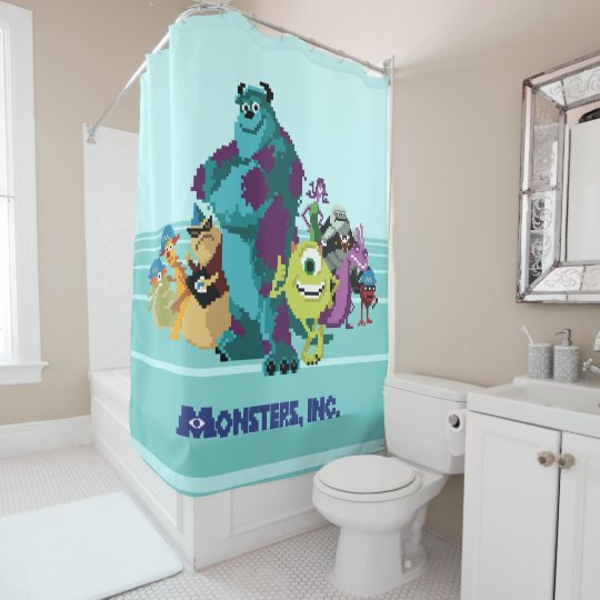 Super Monsters Inc 8Bit Mike Sully And The Gang Shower Curtain Caraccident5 Cool Chair Designs And Ideas Caraccident5Info