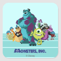 Monsters Inc 8Bit Mike, Sully, and the Gang Square Sticker