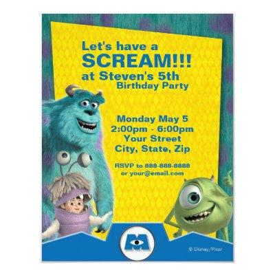 Monsters, Inc. Birthday Invitation 4.25