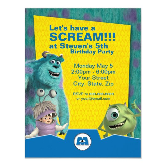 Monsters Inc Birthday Invitation Zazzlecom