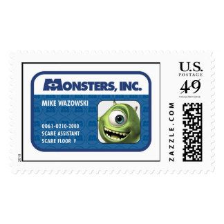 Monsters Inc. Mike Wazowski employee ID card Postage Stamp