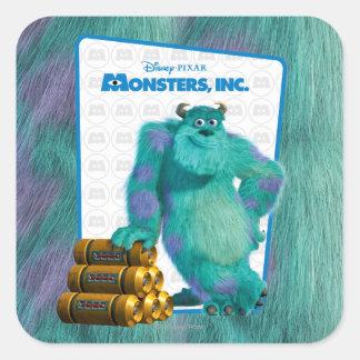 Monsters, Inc. Sulley Pegatina Cuadrada