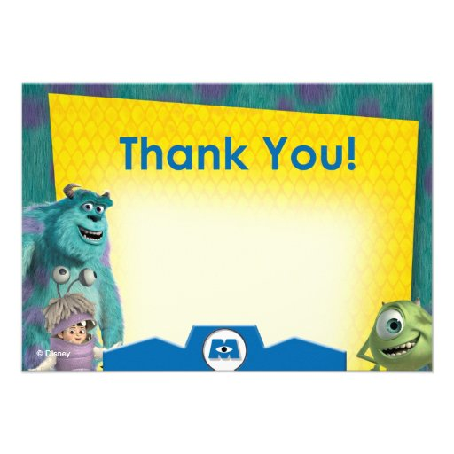 Monsters Inc. Thank You Cards Personalized Announcement