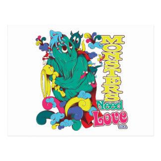 monsters need love too postcard