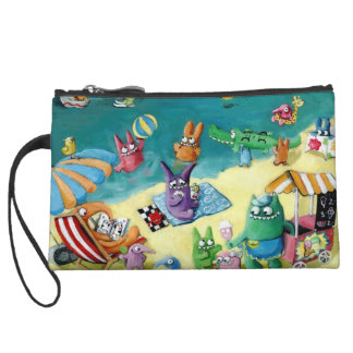 Monsters on the Beach Wristlet Purse