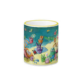 Monsters on the Beach Ringer Coffee Mug